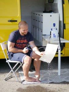 VW T5 Klapptisch Küchenblock Küchenmodul Weiß Waschlösung für Vanlife. Wash solution for vanlife