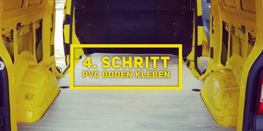 VW T5 Camper Ausbau 4. Schritt PVC Bodenplatte kleben