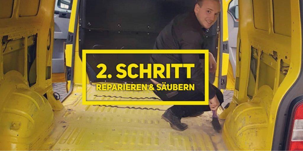 VW T5 Camper Ausbau 2. Schritt reparieren und säubern