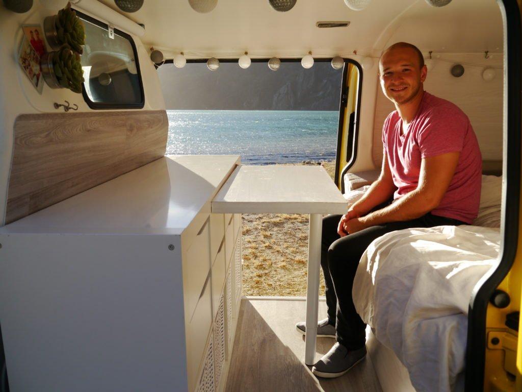 VW T5 Camper Ausbau ohne Hubdach Küchenmodul Küchenblock Tisch für drinnen