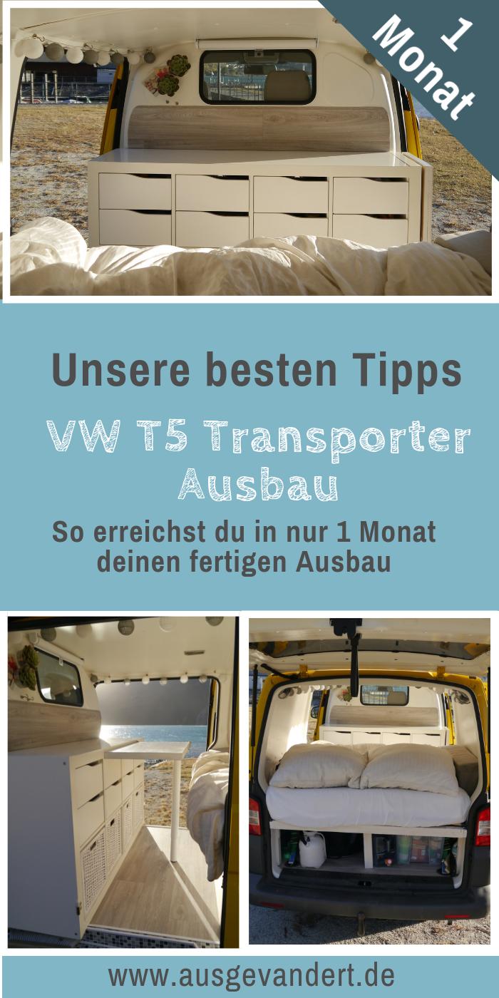VW T5 Transporter Selbstausbau in nur 1 Monat